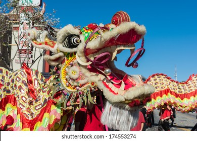 LOS ANGELES, CA - FEBRUARY 1: Chinese dragon during the 115th Annual Golden Dragon Parade, Lunar New Year celebrations on february 1, 2014 in Los Angeles, California.