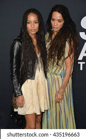 LOS ANGELES, CA - FEBRUARY 10, 2016: Actresses Zoe Kravitz & Lisa Bonet arriving at the Saint Laurent at the Palladium fashion show at the Hollywood Palladium.