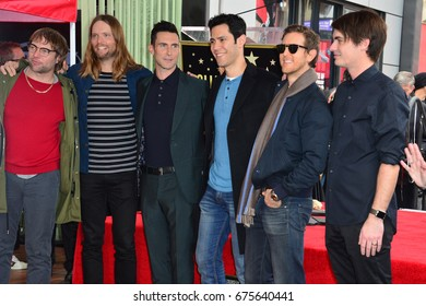 LOS ANGELES, CA - FEBRUARY 10, 2017: Adam Levine & Maroon 5 at the Hollywood Walk of Fame Star Ceremony honoring singer Adam Levine. Los Angeles