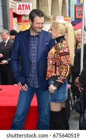 LOS ANGELES, CA - FEBRUARY 10, 2017: Gwen Stefani & Blake Shelton at the Hollywood Walk of Fame Star Ceremony honoring singer Adam Levine. Los Angeles