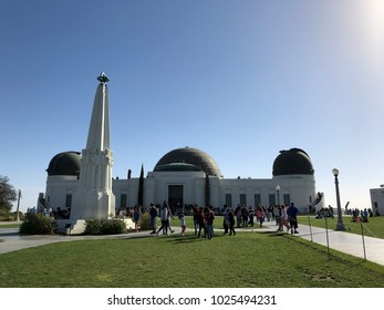 Los Angeles, CA: February 11, 2018:  Griffith Park Observatory in the Los Feliz/Hollywood area. The Griffith Park Observatory is a popular destination for tourists, with millions visiting each year.