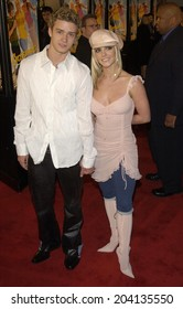 LOS ANGELES, CA - FEBRUARY 11, 2002: Pop star BRITNEY SPEARS & boyfriend *Nsync star JUSTIN TIMBERLAKE at the world premiere, in Hollywood, of her new movie Crossroads.