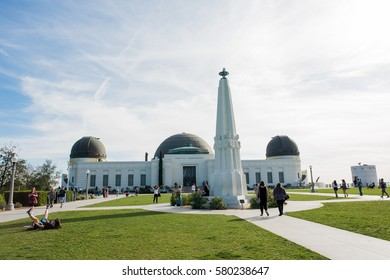 Los Angeles, CA: February 13, 2017:  Griffith Park Observatory in the Los Feliz/Hollywood area.  The Griffith Park Observatory is a popular destination for tourists, with millions visiting each year.