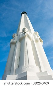 Los Angeles, CA: February 13, 2017:  Astronomers Monument at the Griffith Park Observatory.  The Griffith Park Observatory is a popular destination for tourists, with millions visiting each year.