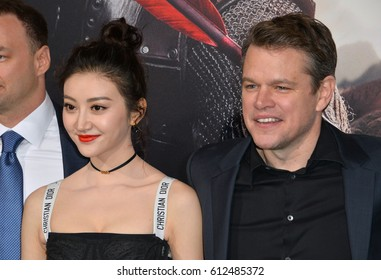 "LOS ANGELES, CA. February 15, 2017: Actors Jing Tian & Matt Damon at the premiere for ""The Great Wall"" at the TCL Chinese Theatre, Hollywood."
