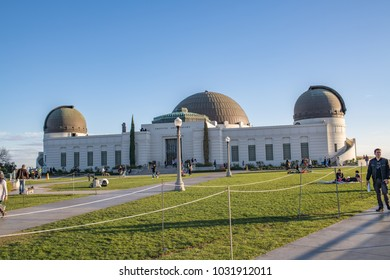 Los Angeles, CA: February 16, 2018: Griffith Park Observatory in the Los Angeles area.  The Griffith Observatory is a popular tourist destination in the Los Angeles area.