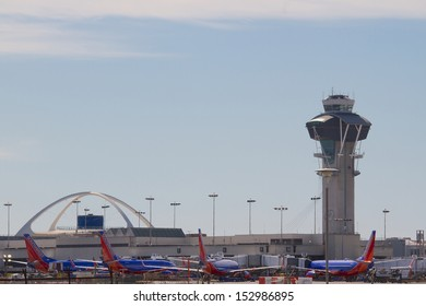 LOS ANGELES, CA - FEBRUARY 16: Planes fill the Southwest Airlines terminal at LAX Airport February, 16 2013 in Los Angeles, California. The airline operates more than 3300 flights per day.