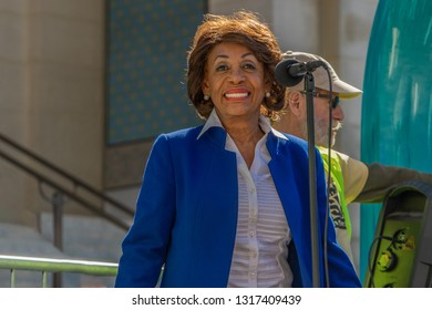 LOS ANGELES, CA - FEBRUARY 18, 2019: Representative Maxine Waters speaking to protesters outside of City Hall at the Presiden't Day protest.