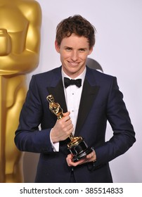 LOS ANGELES, CA - FEBRUARY 22, 2015: Eddie Redmayne at the 87th Annual Academy Awards at the Dolby Theatre, Hollywood.