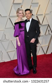 LOS ANGELES, CA. February 24, 2019: Rami Malek & Lucy Boynton at the 91st Academy Awards at the Dolby Theatre.