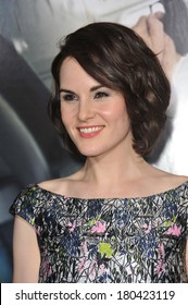 """LOS ANGELES, CA - FEBRUARY 24, 2014: Michelle Dockery at the world premiere of her movie """"Non-Stop"""" at the Regency Village Theatre, Westwood."""