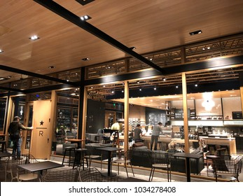 Los Angeles, CA: February 26, 2018: Starbucks Reserve store in Los Angeles. Starbucks has plans to open several hundred Starbucks Reserve stores in the world.