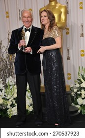 LOS ANGELES, CA - FEBRUARY 26, 2012: Melissa Leo & Christopher Plummer, winner of Best Supporting Actor for Beginners, at the 82nd Academy Awards at the Hollywood & Highland Theatre, Hollywood.