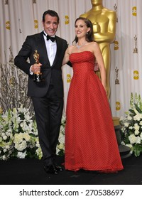 LOS ANGELES, CA - FEBRUARY 26, 2012: Jean Dujardin & Natalie Portman at the 82nd Academy Awards at the Hollywood & Highland Theatre, Hollywood.