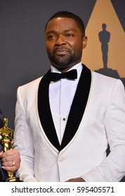 LOS ANGELES, CA. February 26, 2017: David Oyelowo in the photo room at the 89th Annual Academy Awards at the Dolby Theatre, Los Angeles.