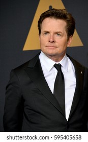 LOS ANGELES, CA. February 26, 2017: Michael J. Fox in the photo room at the 89th Annual Academy Awards at the Dolby Theatre, Los Angeles.