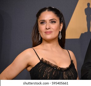 LOS ANGELES, CA. February 26, 2017: Salma Hayek in the photo room at the 89th Annual Academy Awards at the Dolby Theatre, Los Angeles.