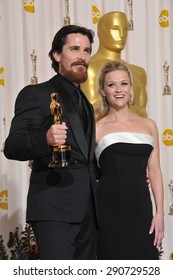 LOS ANGELES, CA - FEBRUARY 27, 2011: Christian Bale & Reese Witherspoon at the 83rd Academy Awards at the Kodak Theatre, Hollywood.