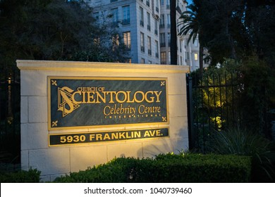 Los Angeles, CA: February 28, 2018:  Church of Scientology building in Los Angeles. Scientology is a religion that was created in 1954 by science fiction author L. Ron Hubbard.