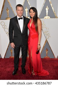 LOS ANGELES, CA - FEBRUARY 28, 2016: Matt Damon & Luciana Barroso at the 88th Academy Awards at the Dolby Theatre, Hollywood.