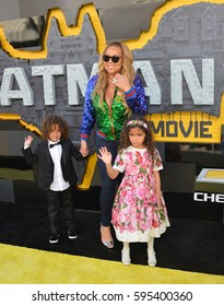 """LOS ANGELES, CA. February 4, 2017: Actress/singer Mariah Carey & children at the world premiere of """"The Lego Batman Movie"""" at the Regency Village Theatre, Westwood"""