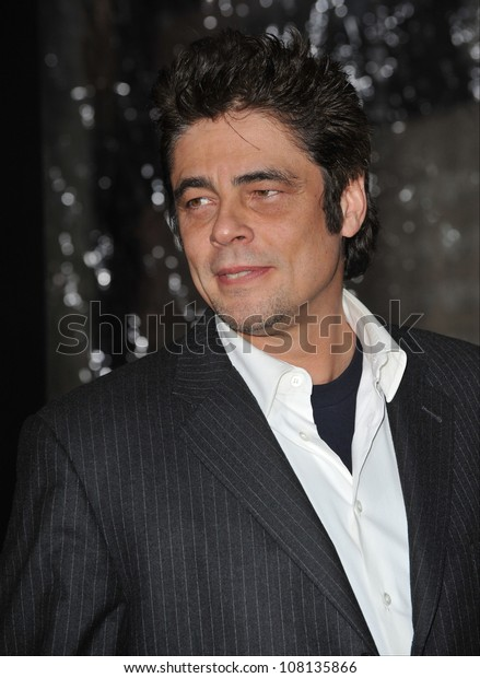 """LOS ANGELES, CA - FEBRUARY 9, 2010: Benicio Del Toro at the US premiere of his new movie """"Wolfman"""" at the Arclight Theatre, Hollywood."""