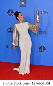 LOS ANGELES, CA. January 06, 2019: Sandra Oh at the 2019 Golden Globe Awards at the Beverly Hilton Hotel.Picture: Paul Smith/Featureflash