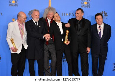 LOS ANGELES, CA. January 06, 2019: Jim Beach, Roger Taylor and Brian May of Queen, Rami Malek, Graham King & Mike Myers at Golden Globe Awards at the Beverly Hilton Picture: Paul Smith/Featureflash