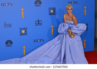 LOS ANGELES, CA. January 06, 2019: Lady Gaga at the 2019 Golden Globe Awards at the Beverly Hilton Hotel.