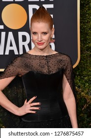 LOS ANGELES, CA. January 06, 2019: Jessica Chastain at the 2019 Golden Globe Awards at the Beverly Hilton Hotel.