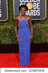 LOS ANGELES, CA. January 06, 2019: Lupita Nyong'o  at the 2019 Golden Globe Awards at the Beverly Hilton Hotel.