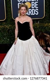 LOS ANGELES, CA. January 06, 2019: Amber Heard at the 2019 Golden Globe Awards at the Beverly Hilton Hotel.