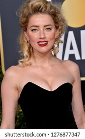 LOS ANGELES, CA. January 06, 2019: Amber Heard at the 2019 Golden Globe Awards at the Beverly Hilton Hotel.