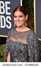 LOS ANGELES, CA. January 06, 2019: Debra Messing at the 2019 Golden Globe Awards at the Beverly Hilton Hotel.