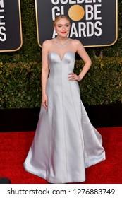 LOS ANGELES, CA. January 06, 2019: Dakota Fanning at the 2019 Golden Globe Awards at the Beverly Hilton Hotel.