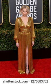 LOS ANGELES, CA. January 06, 2019: Lucy Boynton at the 2019 Golden Globe Awards at the Beverly Hilton Hotel.
