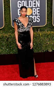 LOS ANGELES, CA. January 06, 2019: Laura Harrier at the 2019 Golden Globe Awards at the Beverly Hilton Hotel.