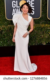 LOS ANGELES, CA. January 06, 2019: Sandra Oh at the 2019 Golden Globe Awards at the Beverly Hilton Hotel.