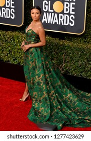 LOS ANGELES, CA. January 06, 2019: Jeannie Mai at the 2019 Golden Globe Awards at the Beverly Hilton Hotel.