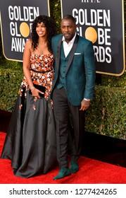LOS ANGELES, CA. January 06, 2019: Idris Elba & Sabrina Dhowre at the 2019 Golden Globe Awards at the Beverly Hilton Hotel.