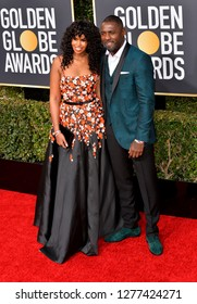 LOS ANGELES, CA. January 06, 2019: Idris Elba & Sabrina Dhowre at the 2019 Golden Globe Awards at the Beverly Hilton Hotel.