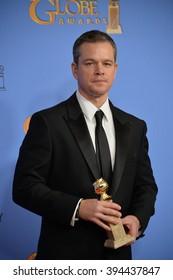 LOS ANGELES, CA - JANUARY 10, 2016: Matt Damon at the 73rd Annual Golden Globe Awards at the Beverly Hilton Hotel.