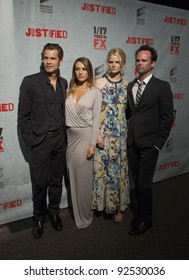 LOS ANGELES, CA - JANUARY 10: Timothy Olyphant, Natalie Zea, Joelle Carter & Walton Goggins arrive to the Justified Premiere at the Directors Guild of America on January 10, 2012 in Los Angeles, CA.