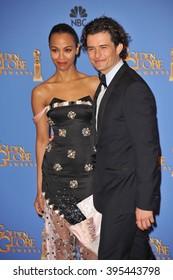 LOS ANGELES, CA - JANUARY 12, 2014: Orlando Bloom & Zoe Saldana in the press room at the 71st Annual Golden Globe Awards
