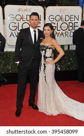 LOS ANGELES, CA - JANUARY 12, 2014: Channing Tatum & Jenna Dewan-Tatum at the 71st Annual Golden Globe Awards at the Beverly Hilton Hotel.