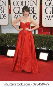 LOS ANGELES, CA - JANUARY 13, 2013: Zooey Deschanel at the 70th Golden Globe Awards at the Beverly Hilton Hotel.