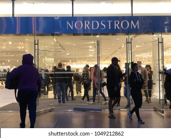 Los Angeles, CA: January 14, 2017: Exterior of a Nordstrom store in Los Angeles.  Nordstrom is a luxury fashion retailer that was founded in 1901.
