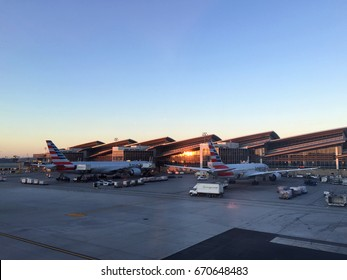 LOS ANGELES, CA - JANUARY 14, 2017: Morning light at LAX airport American Airline tarmac