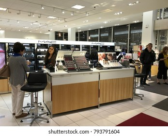 Los Angeles, CA: January 14, 2017: Interior of a Nordstrom store in Los Angeles.