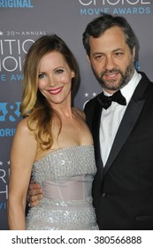 LOS ANGELES, CA - JANUARY 15, 2015: Leslie Mann & husband director Judd Apatow at the 20th Annual Critics' Choice Movie Awards at the Hollywood Palladium.